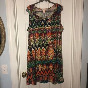 Klozlyne Multicolor Chevron Casual Dress (2X)